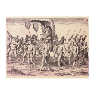Reina india que graba al agua fuerte c1591 impresión en madera