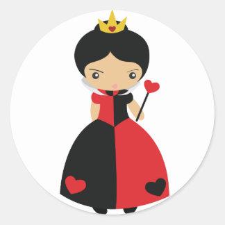 Reina linda del KRW de corazones Pegatina Redonda