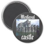 Reina medieval del rey del castillo real imán redondo 7 cm