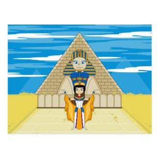 Reina Nefertiti y la gran esfinge de Giza Postal