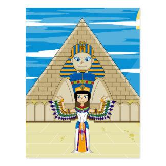 Reina Nefertiti y la gran esfinge de Giza Tarjeta Postal