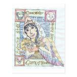 Reina pagana del cielo y niño santo tarjeta postal