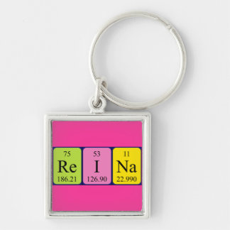 Reina periodic table name keyring Silver-Colored square keychain