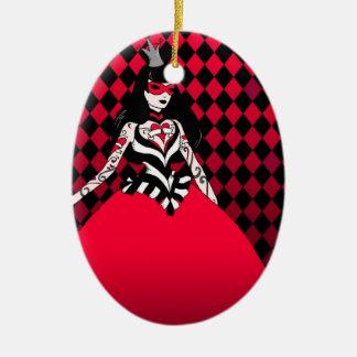 Reina roja del ornamento del óvalo de los adorno navideño ovalado de cerámica