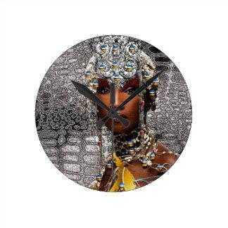 Reina tribal africana reloj de pared