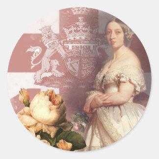 Reina Victoria del vintage Etiquetas Redondas