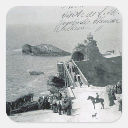 Reina Victoria en la costa francesa Pegatina Cuadrada