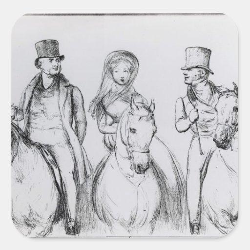 Reina Victoria, señor Melbourne y señor Russell Pegatina Cuadrada