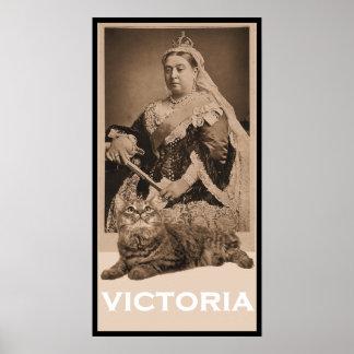 Reina Victoria y gatito Póster