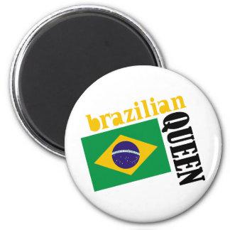 Reina y bandera brasileñas imán de frigorifico