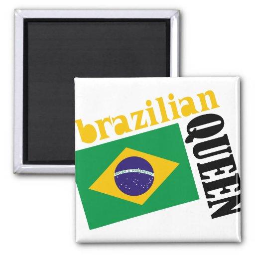 Reina y bandera brasileñas imán cuadrado