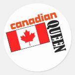 Reina y bandera canadienses pegatinas redondas