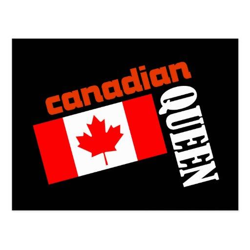 Reina y bandera canadienses postal