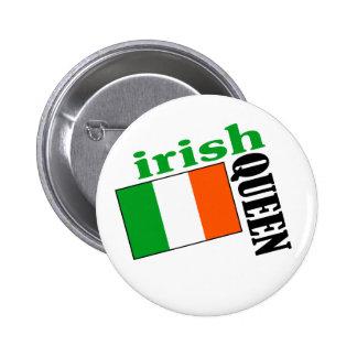 Reina y bandera irlandesas pin redondo de 2 pulgadas