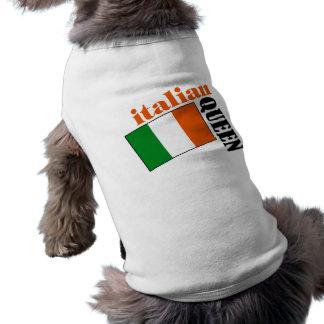 Reina y bandera italianas playera sin mangas para perro