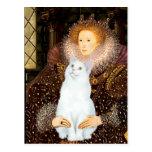 Reina y gato blanco tarjeta postal