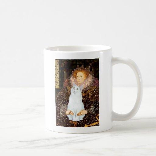 Reina y gato blanco tazas de café