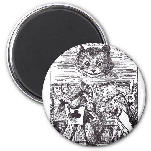 Reina y gato de Cheshire Imanes Para Frigoríficos