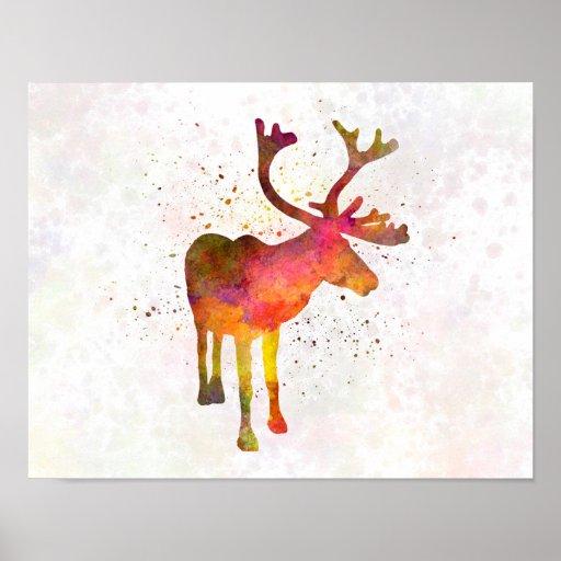 Reindeer 02 in watercolor poster