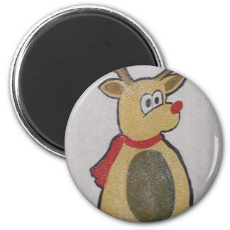 Reindeer 2 Inch Round Magnet