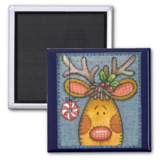 Reindeer 2 Inch Square Magnet