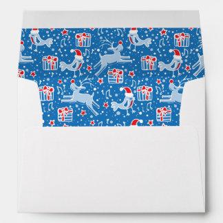 Reindeer and bird pattern Christmas blue envelope