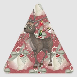 Reindeer and Christmas Bells Triangle Sticker