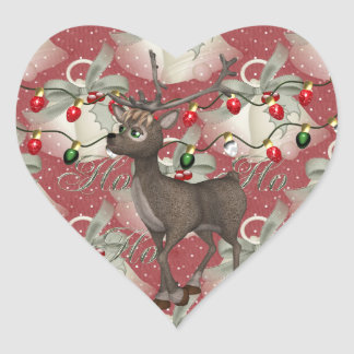 Reindeer and Christmas Bells Heart Sticker