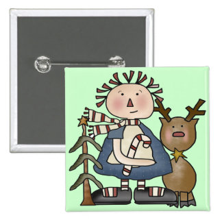 Reindeer and Rag Doll 2 Inch Square Button