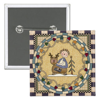 Reindeer and Raggedy Annie 2 Inch Square Button