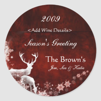 Reindeer and Red Customized Christmas Wine Labels Classic Round Sticker