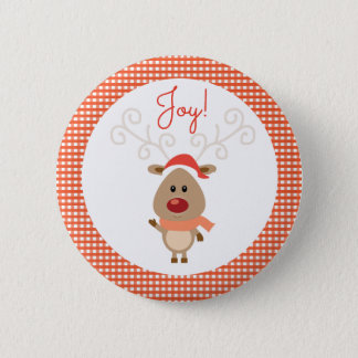 Reindeer and Red Gingham Christmas Pinback Button