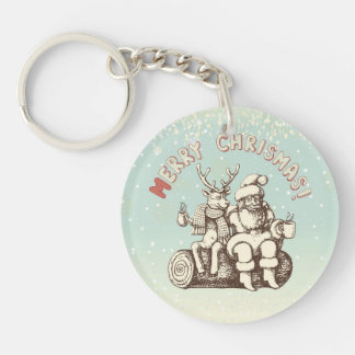 Reindeer and Santa Claus taking a coffee break Keychain