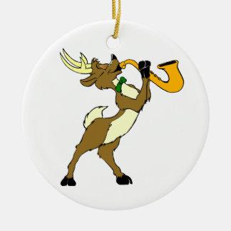Reindeer And Saxophone Ceramic Ornament
