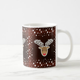 Reindeer And Snow On Red Coffee Mug