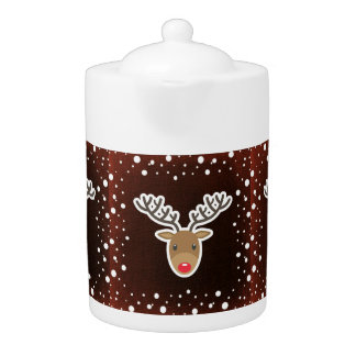 Reindeer And Snow On Red Teapot