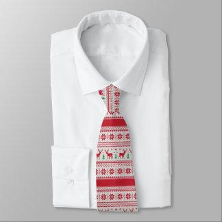 Reindeer and Snowflakes Fair Isle Design Necktie