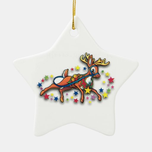 Reindeer And Stars Double-Sided Star Ceramic Christmas Ornament
