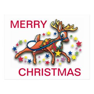 Reindeer And Stars Postcard