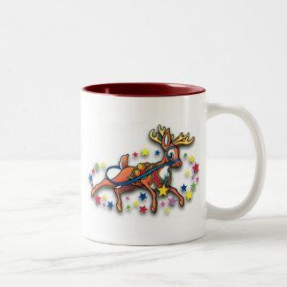 Reindeer And Stars Two-Tone Coffee Mug
