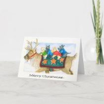 Reindeer and Terriers Christmas card