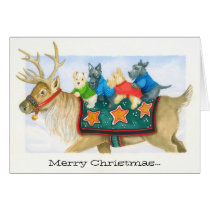 Reindeer and Terriers Christmas card