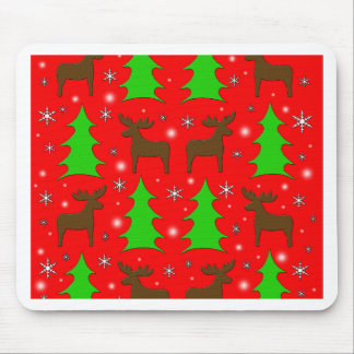 Reindeer and Xmas trees patern Mouse Pad