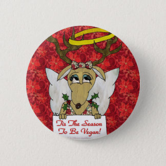 Reindeer Angel Tis The Season to Be Vegan Button