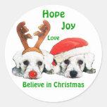 Reindeer Antlers Santa Hat Schnauzers Stickers