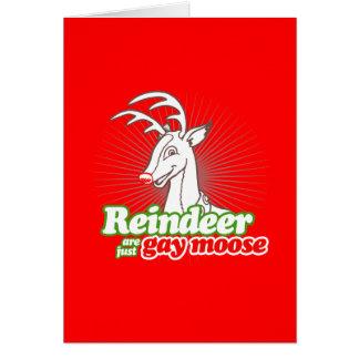 REINDEER ARE JUST GAY MOOSE GREETING CARD