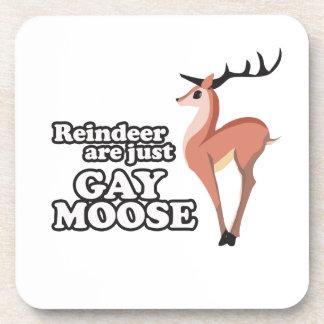 REINDEER ARE JUST GAY MOOSE -.png Beverage Coaster