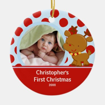 Toddler & Baby themed Reindeer Baby Boy Photo Christmas Ornament