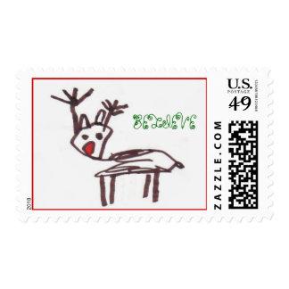 reindeer BELIEVE, Holiday, Christmas Postage Stamp