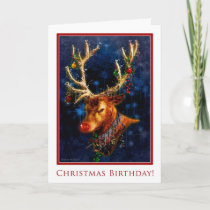 Reindeer Birthday on Christmas Card